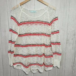 Maurices | XL Open Knit Sweater Cream Coral